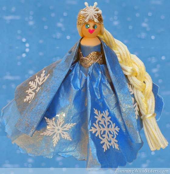 Frozen Snow Princess Clothespin Doll