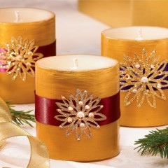 Gilded Pillar Candles