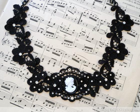 Victorian Lace Cameo Bib Necklace