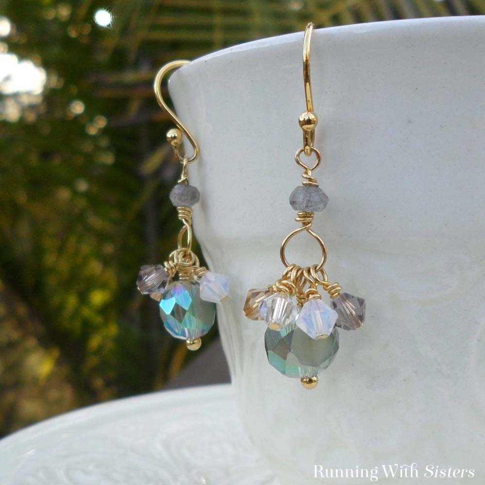 We just love how the iridescent aqua beads pop against the bright and shiny gold wire in these crystal earrings. Make these easy earrings in a few steps!