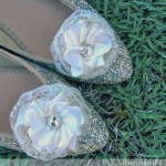 Ribbon-Rose and Rhinestone Decorated Ballet Flats