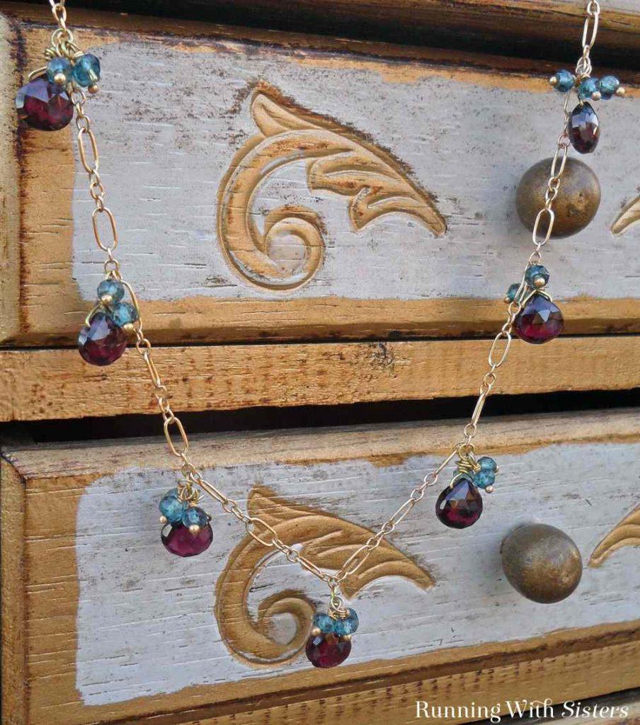 Garnet Briolette Necklace Beauty Shot