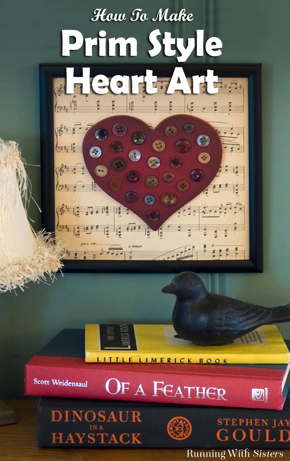 Make a vintage look home accent with a wooden craft heart and a stash of old buttons. This prim heart art says Home Is Where The Heart Is!