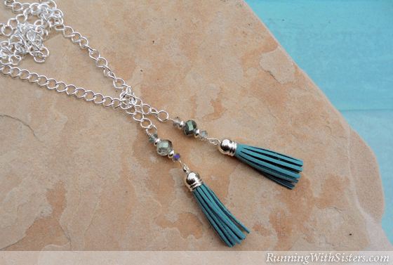 Teal Tassel Lariat Necklace