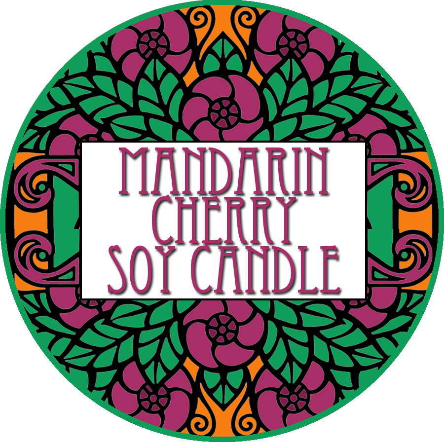 Mandarin Cherry Soy Candle Label