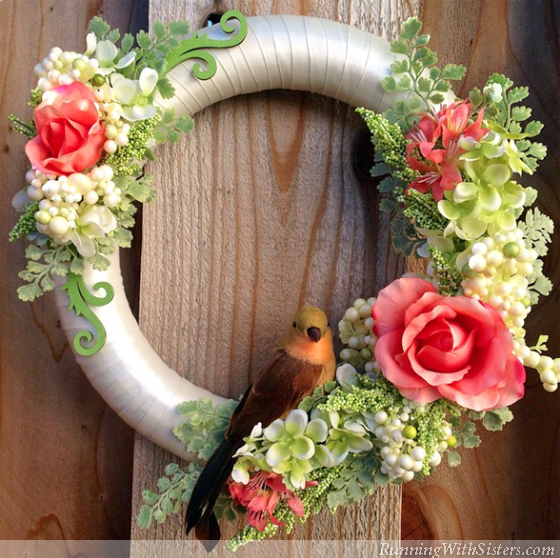 Spring Floral Wreath With Bird