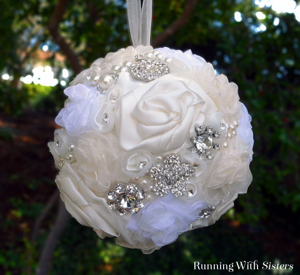 Make a rhinestone and ribbon kissing ball for your wedding day!