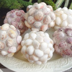 These Decorative Seashell Balls make a stylish home accent with seaside style. Iridescent glitter adds sparkle and shine!