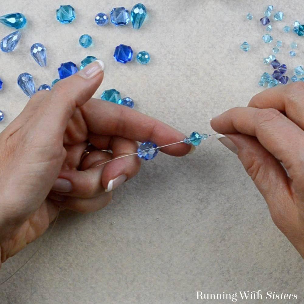 3 Crystal Illusion Necklace - Slide On Bicone Crystal Bicone Crimp