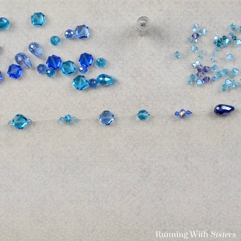 4 Crystal Illusion Necklace - Continue Adding Beads To Strand