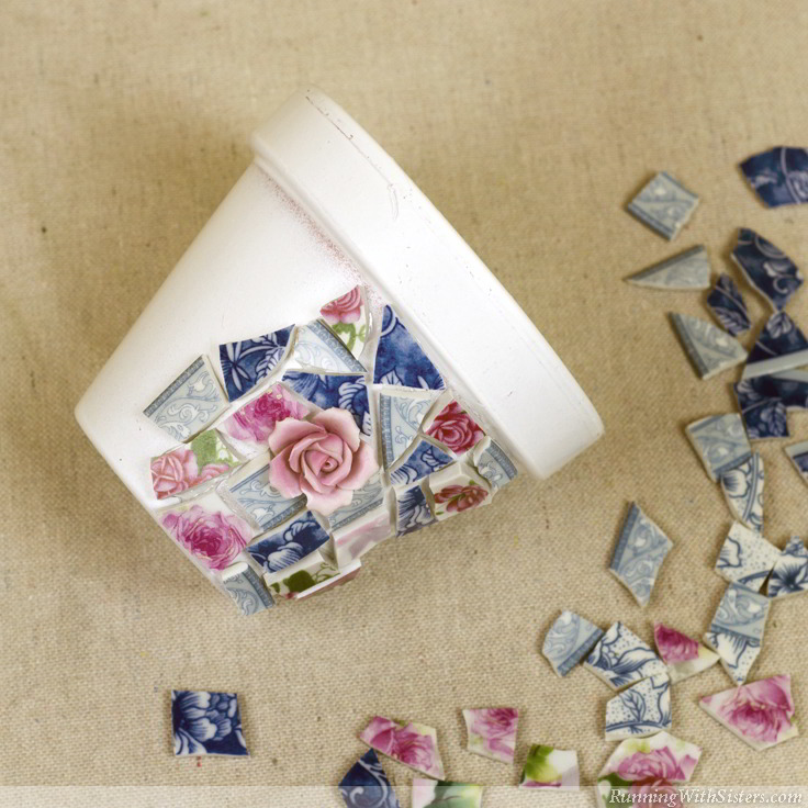 Mosaic With Broken China Glue Pieces