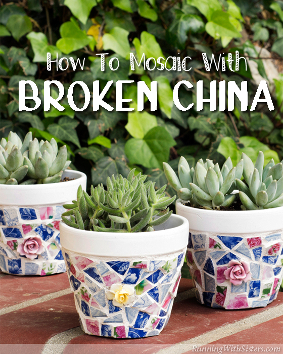 How To Mosaic Pots With Broken China