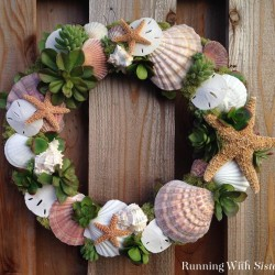 Learn to make this seashells and succulents wreath. Starfish, sand dollars, and shells mixed with faux succulents. Our two favorite summer trends in one!