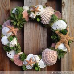 Succulents and Seashells Wreath