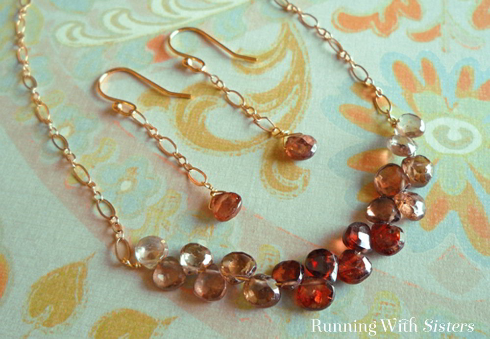 This Ombre Briolette Wirework Necklace gets its gorgeous look from the beads. We'll show you how to make the wirework necklace and earrings! It's easy!