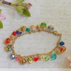 Crystal Beaded Dangle Bracelet