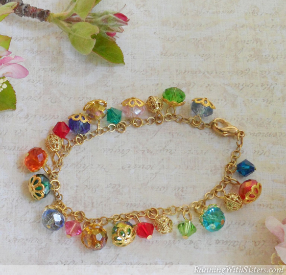 Crystal Beaded Dangle Bracelet