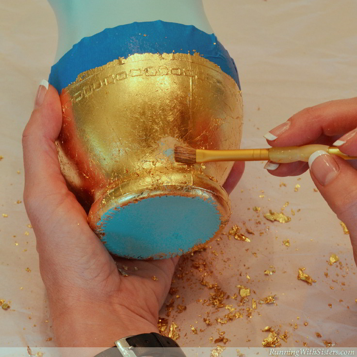 Gold Leaf Vases - Apply Additional Adhesive 6