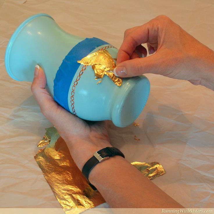 Gold Leaf Vases - Apply Gold Leaf 5