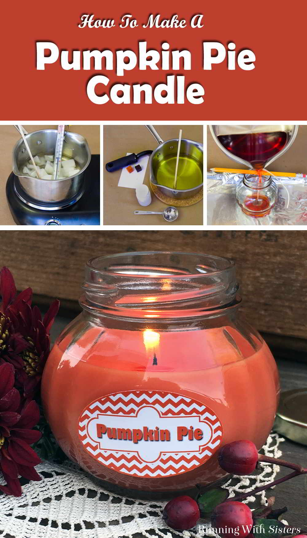 Learn to make this Pumpkin Pie Candle Jar. We'll share what wax to use for containers and show you how to wick a container to make a jar candle.