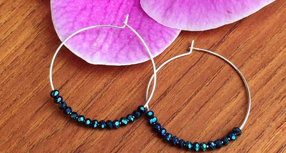 Easy DIY Beaded Earrings: Crystal Hoops!