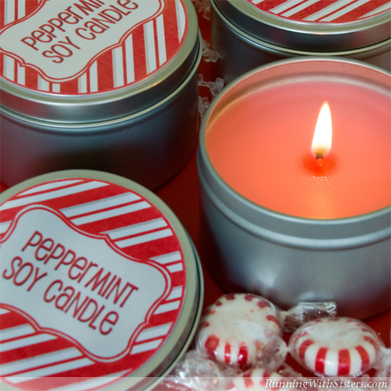 Make a Peppermint Soy Candle In A Tin for a fast, handmade Christmas gift. Soy wax melts in the microwave, so this craft is fast! Printable label included.