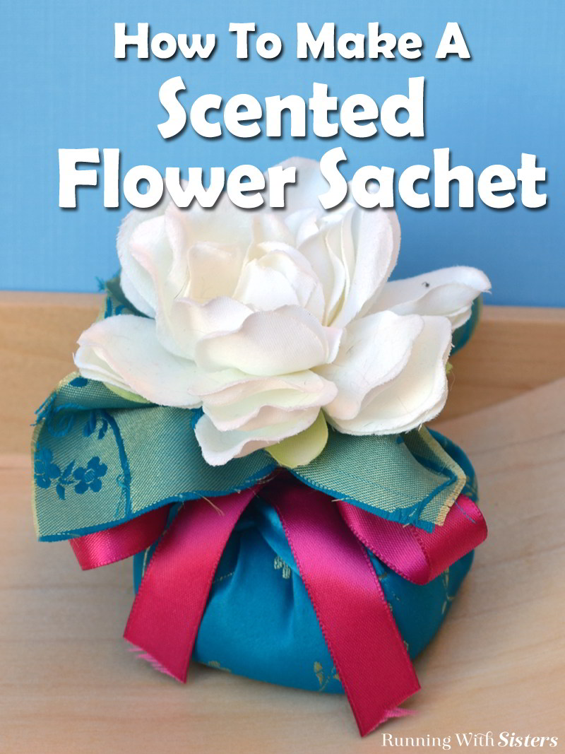 This scented flower sachet is so easy to make! Just mix the lavender and chamomile and spoon into the fabric, then cinch and top with a silk flower.