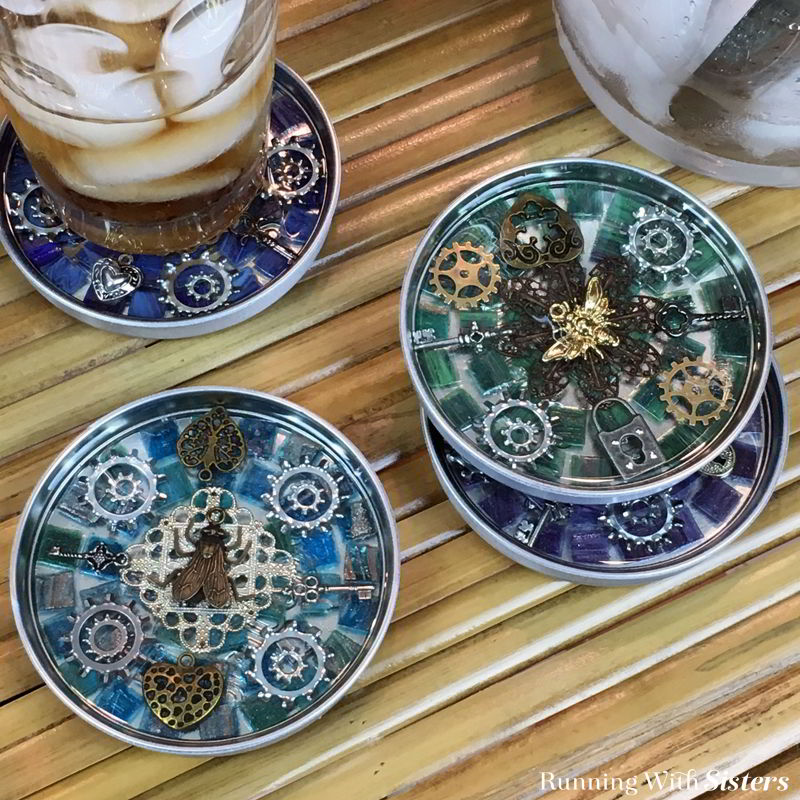 Learn to make these Steampunk Mosaic Coasters Made With Resin. We'll show you how to mix and pour the two part resin. We've even included a video!