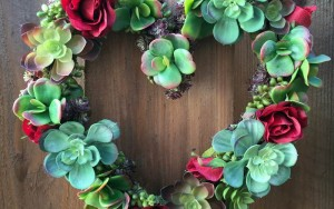 Succulent Wreath For Valentine's Day