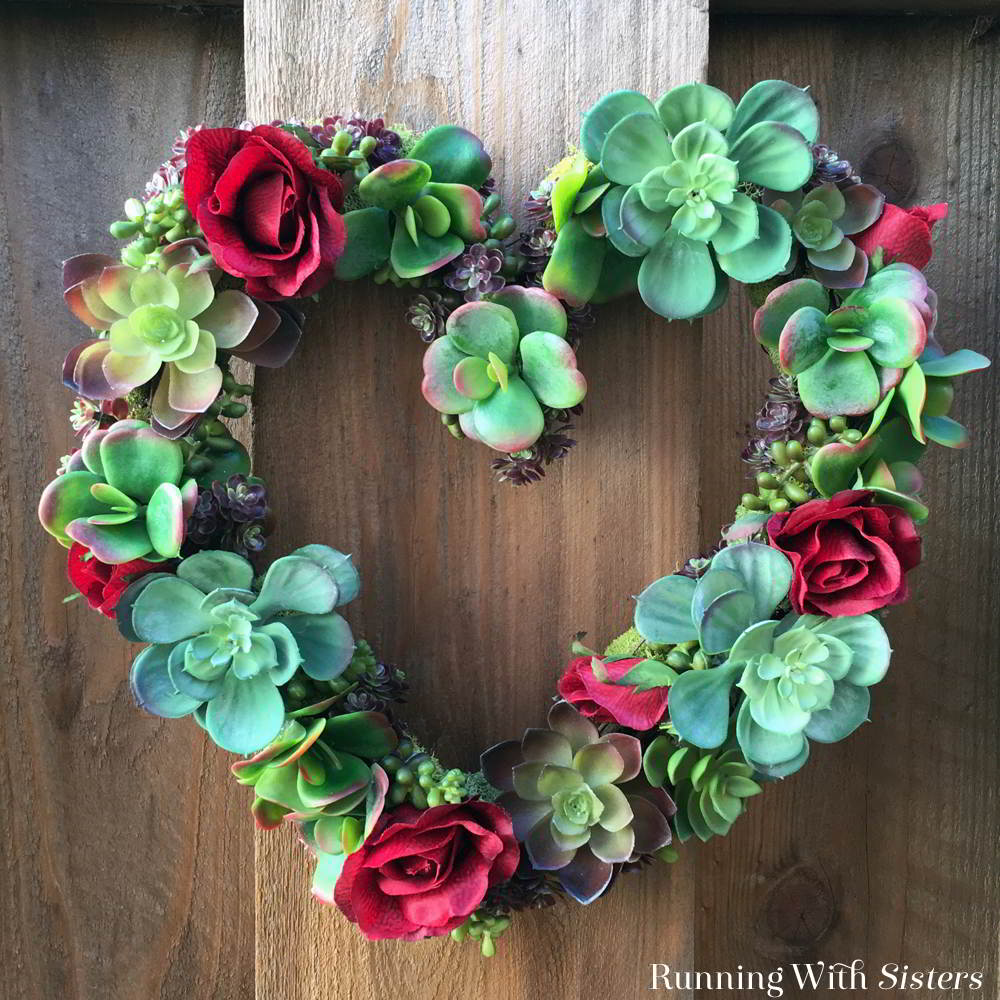 Make a succulent heart wreath for Valentine's Day! We'll show you how to arrange the succulents, fill in spaces with moss, and add silk roses for color!