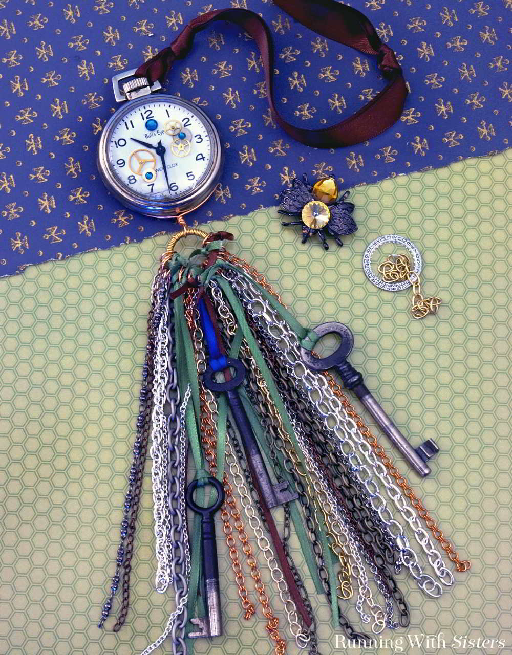 Turn a flea market find into a Steampunk Pocket Watch Tassel with chains, antique skeleton keys, and watch gears. We'll tell you how!