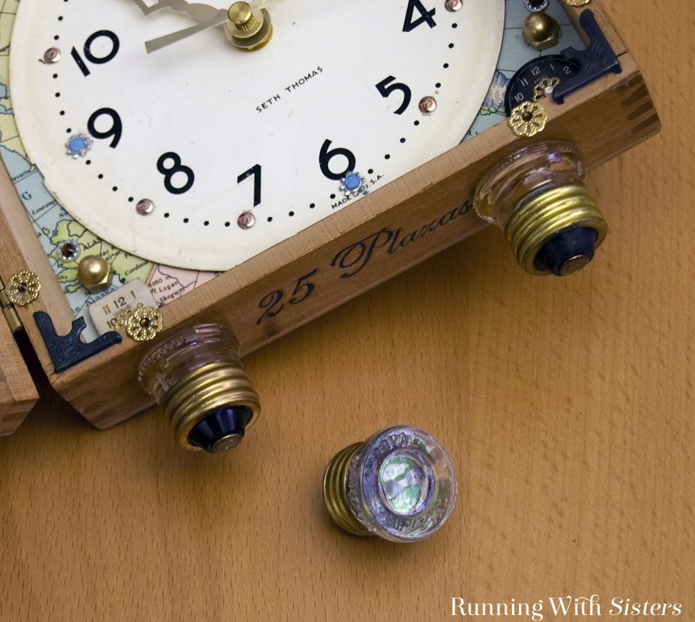 Make a Steampunk Cigar Box Clock using flea market finds and a clock kit.