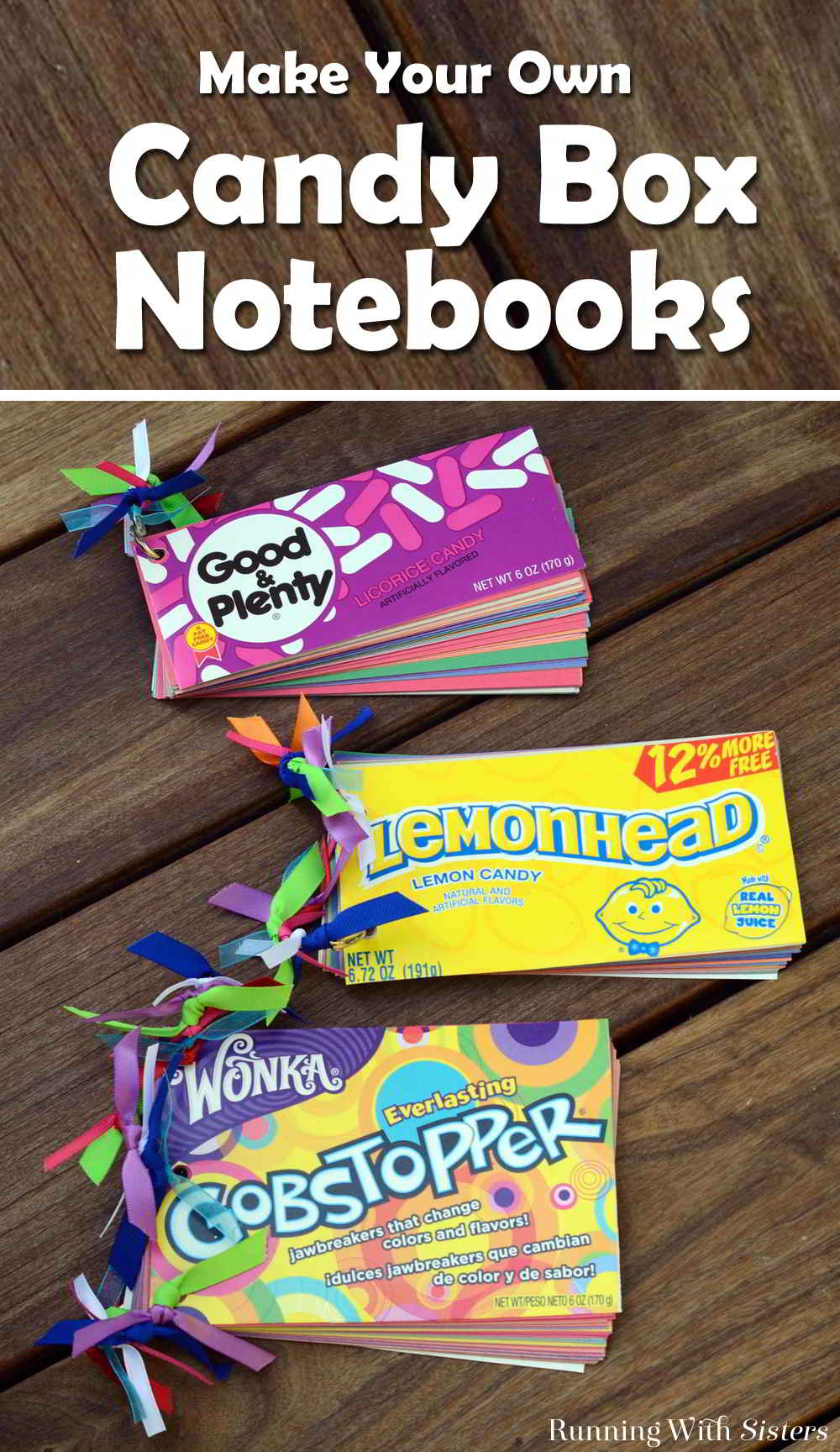 Make your own Candy Box Notebooks using candy boxes from the dollar store. Make the covers from your favorite candy. Bind the pages with a metal ring. Sweet!