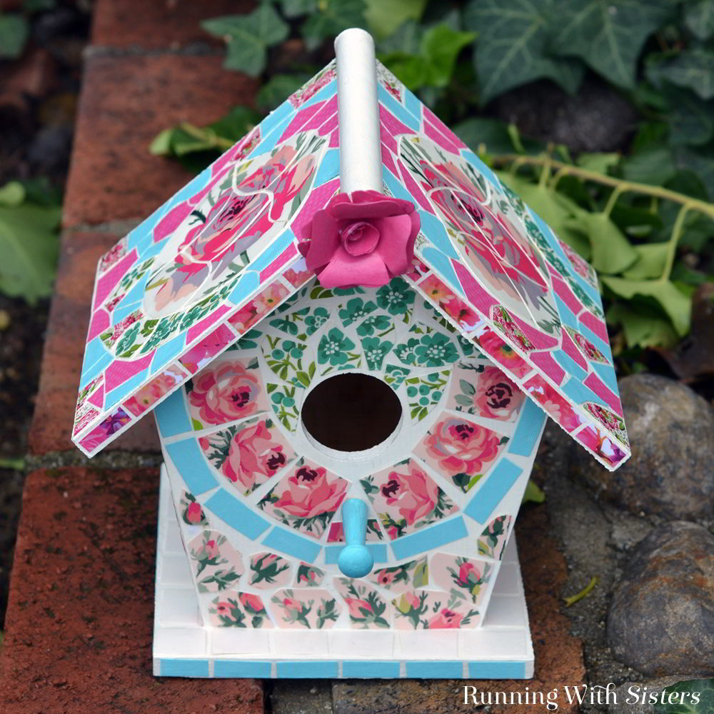 Make an easy mosaic birdhouse using flowered scrapbook paper instead of broken china for the mosaic tiles!