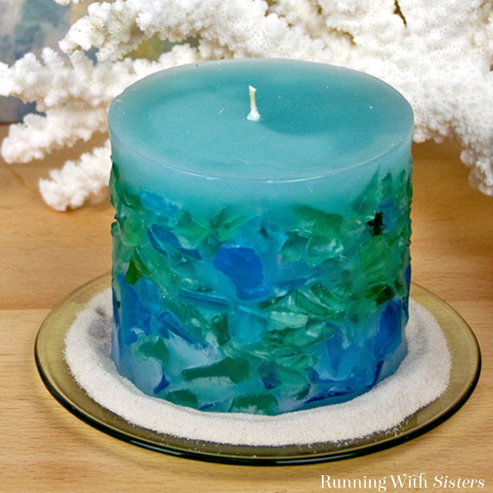 Make a designer sea glass candle! We'll show you how to use a two-part pillar candle mold. We'll show you how to wick the candle and embed the sea glass.