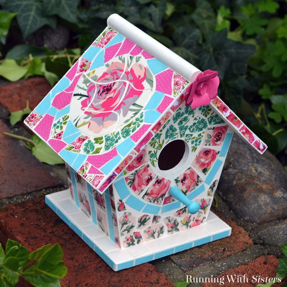 Easy Mosaic Birdhouse That Looks Like Broken China