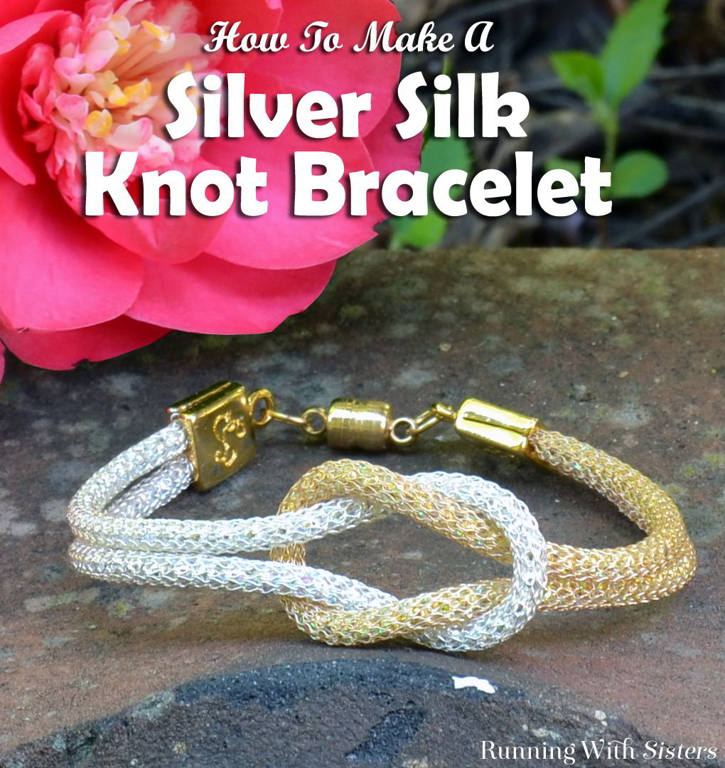Make a simple but elegant silver silk knot bracelet. We'll show you how to use connectors to put on the clasp and how to tie the knot.