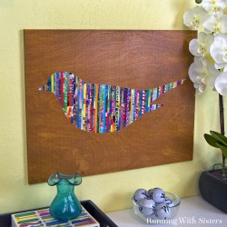 This cool magazine strip art is much easier to make than it looks! Cut out strips of magazines. Then glue them side by side onto an enlarged bird cut out.