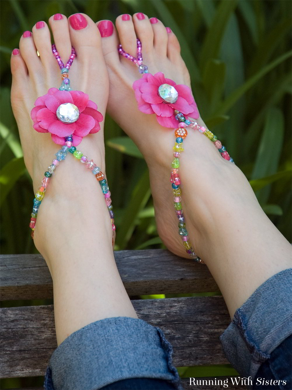 Make a pair of beaded barefoot sandals. Fun craft for summer!