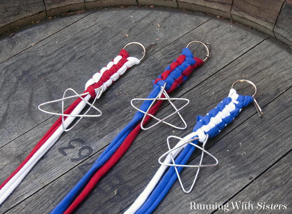 Recycle old t-shirts into red, white, and blue boondoggle key chains! Learn easy macrame knots to make this patriotic July 4th kid craft!