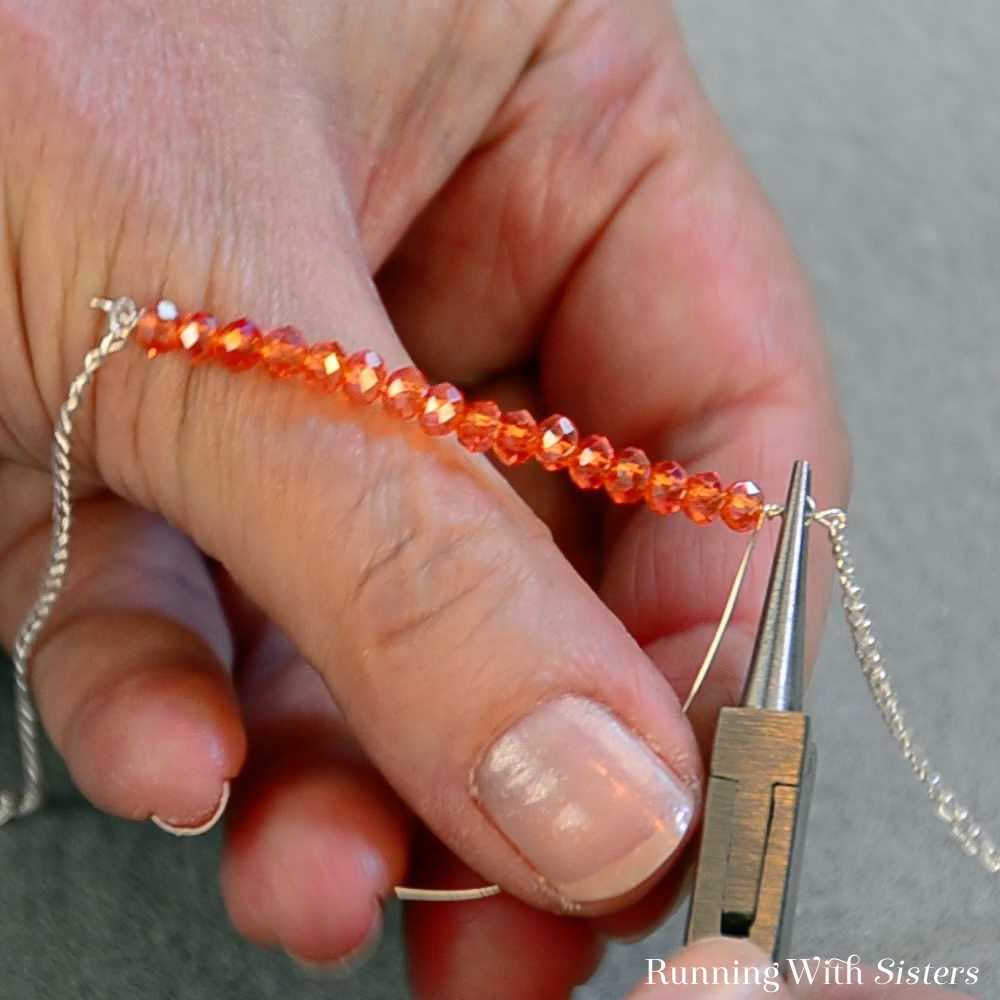 3B Crystal Bar Necklace - Slide Chain Into Loop And Wrap Loop