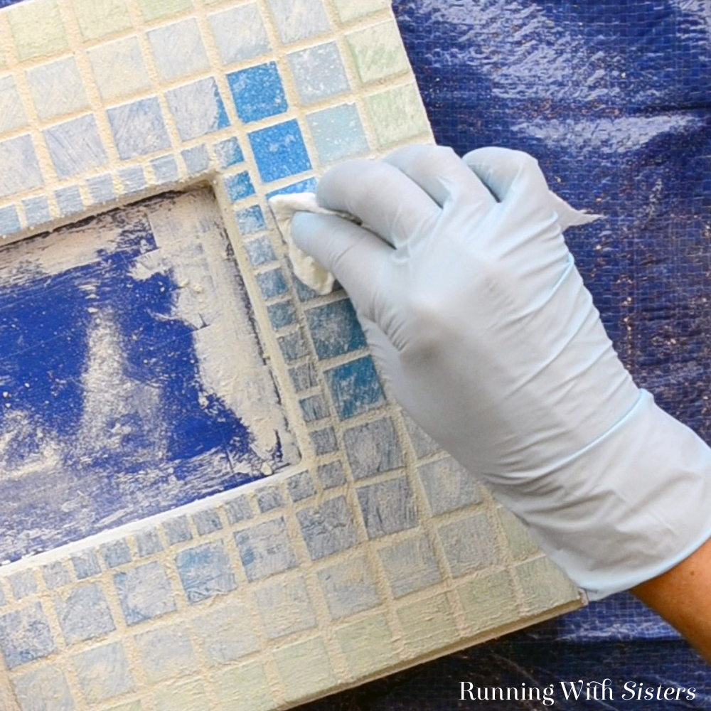 4B Mosaic Picture Frame - Buff Tiles