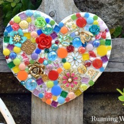 Make a mosaic garden heart using leftover tiles pieces of broken china, and flea market jewels. Making it with silicone means it's one step and no grout!