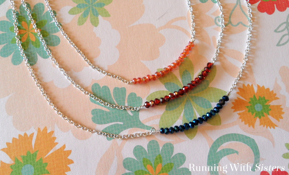 This Crystal Bar Necklace is an easy jewelry project. We'll show you how to make a wrapped loop in wire and string on crystals, then attach chain.