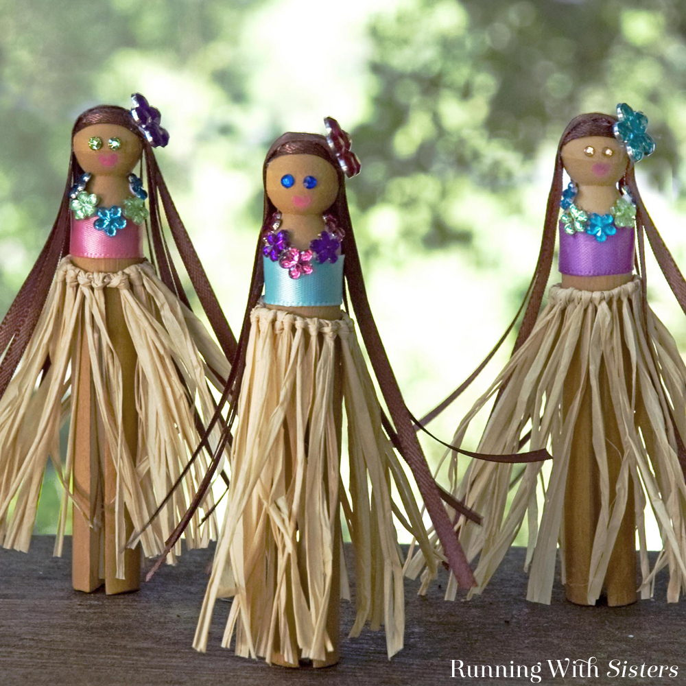 Say aloha to summer fun with a set of Hula Girl Clothespin Dolls made with old fashioned doll clothespins. Tie a hula skirt with ribbon. We'll show you how!