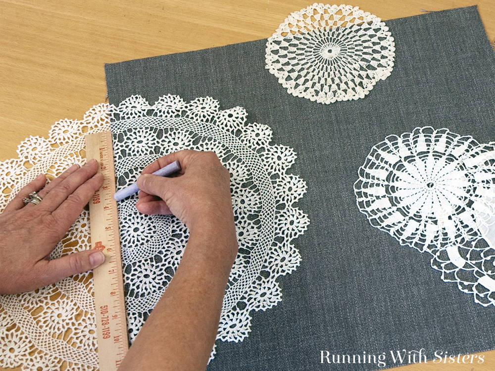 Make this pretty lace doily pillow by cutting the doilies and hand sewing them to the fabric. We'll show you step by step how to make them into a pillow.