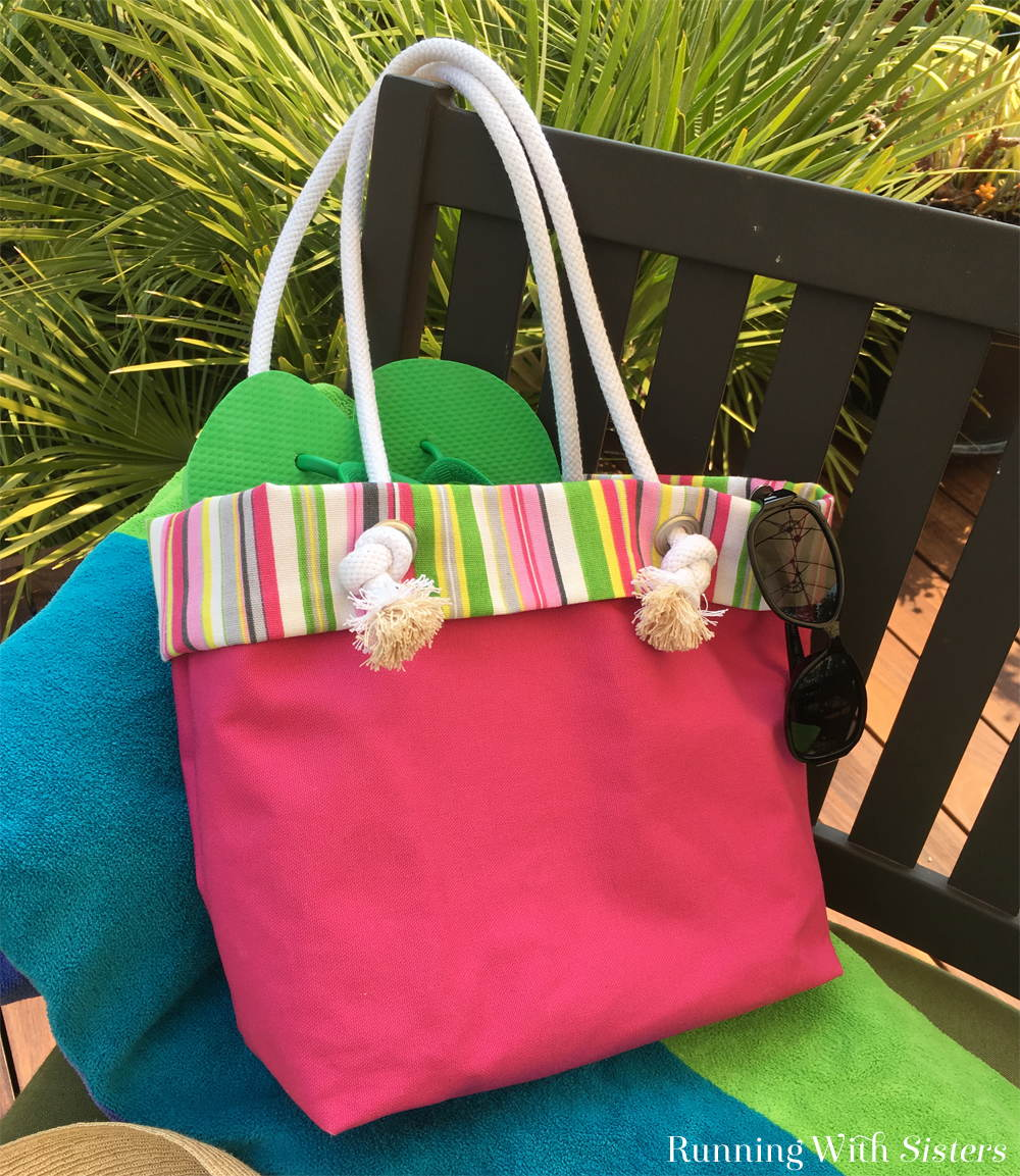 Learn to make an easy to sew Beachy Canvas Tote Bag with a striped lining and grommet and rope handles.