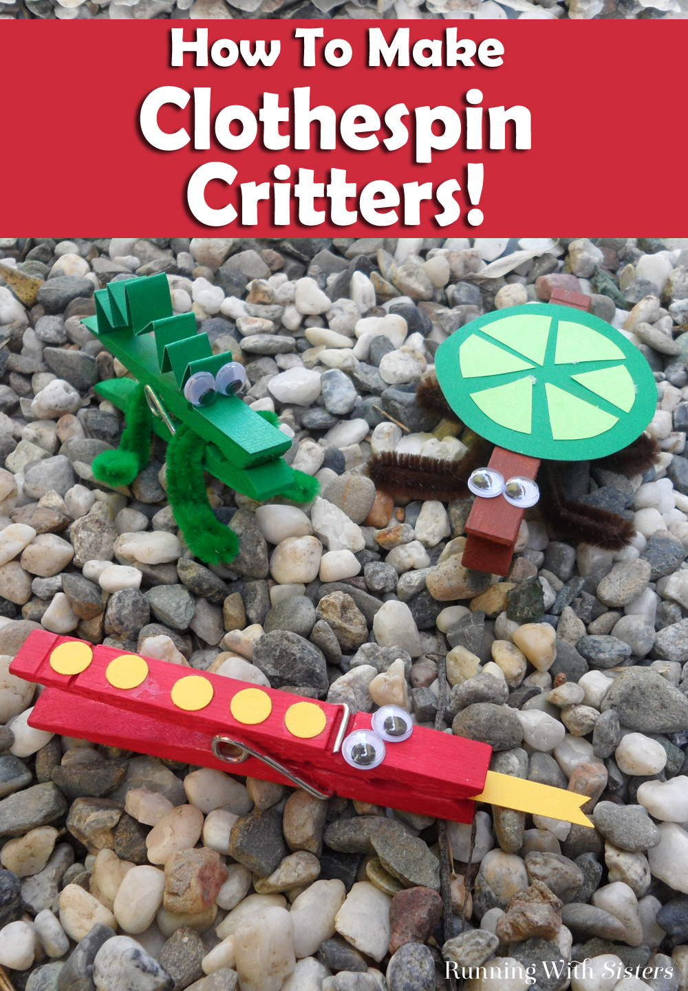 Kids! Make a super fun set of clothespin critters including a clothespin alligator, a clothespin turtle, and a polka dot clothespin snake!