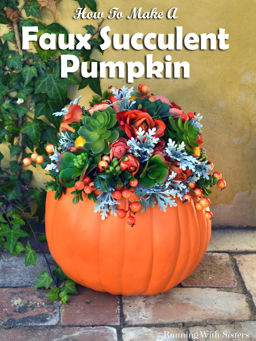 Make a faux succulent pumpkin for fall! Arrange silk roses and faux succulents in a carvable Funkin for a fall centerpiece or front door decor.