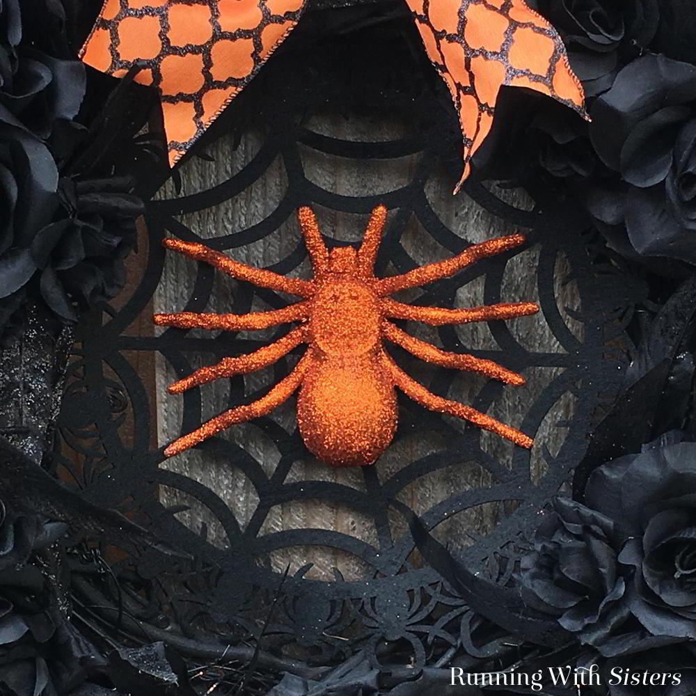 halloween-spider-wreath-orange-spider-detail - running with sisters